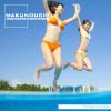 若い水着女性2人がプールで水遊びを楽しむイメージを中心とした夏の素材集です。