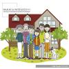 新婚カップルや核家族、3世代家族など様々な形態の家族の日常生活を描いたイラスト集です。